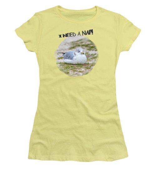 Gull Nap Time Women's T-Shirt (Junior Cut) by John M Bailey