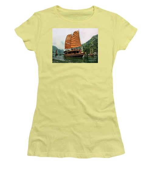 Ha Long Vessel Brown  Women's T-Shirt (Junior Cut) by Chuck Kuhn