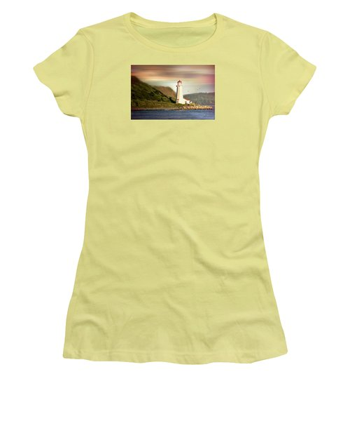 Halifax Harbor Lighthouse Women's T-Shirt (Junior Cut) by Diana Angstadt