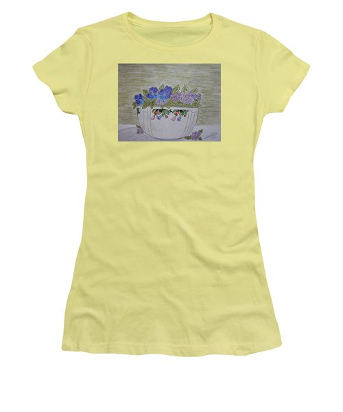 Hall China Crocus Bowl With Violets Women's T-Shirt (Junior Cut) by Kathy Marrs Chandler