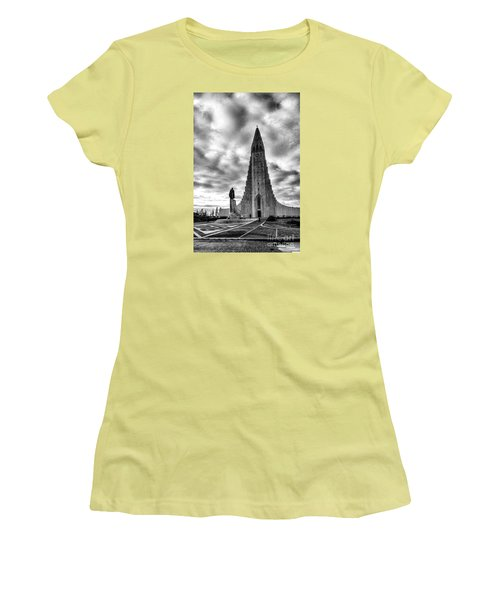 Women's T-Shirt (Junior Cut) featuring the photograph Hallgrims Kirkja Iceland by Rick Bragan
