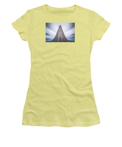 Hallgrimskirkja Cathedral Women's T-Shirt (Junior Cut) by Brad Grove