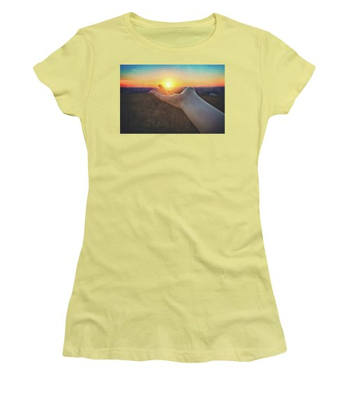 Hand Holding Sun - Sunset At Lapham Peak - Wisconsin Women's T-Shirt (Junior Cut) by Jennifer Rondinelli Reilly - Fine Art Photography