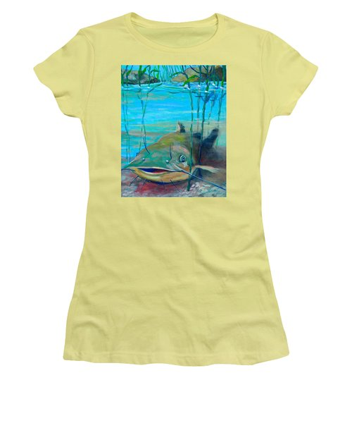Happy Catfish Women's T-Shirt (Junior Cut) by Jeanette Jarmon