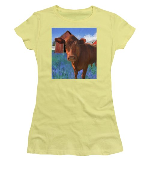 Happy Cow West Marin  Women's T-Shirt (Athletic Fit)