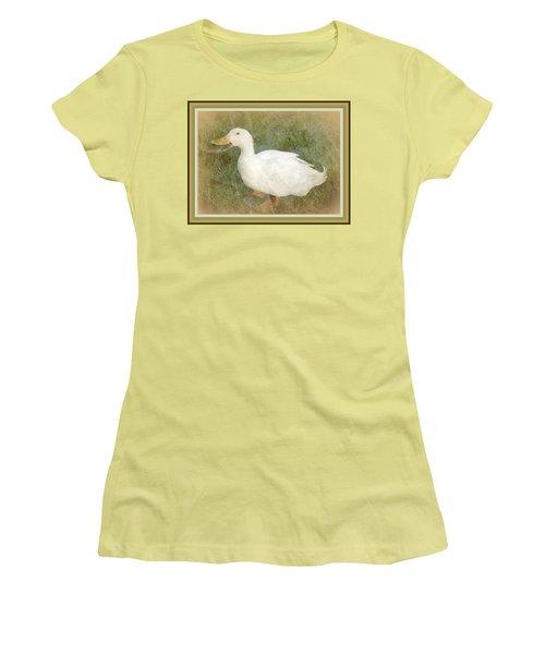 Happy Duck Portrait Women's T-Shirt (Junior Cut) by Jodie Marie Anne Richardson Traugott          aka jm-ART