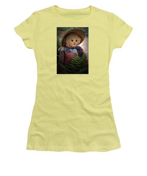 Women's T-Shirt (Junior Cut) featuring the photograph Happy Scarecrow by Karen Harrison
