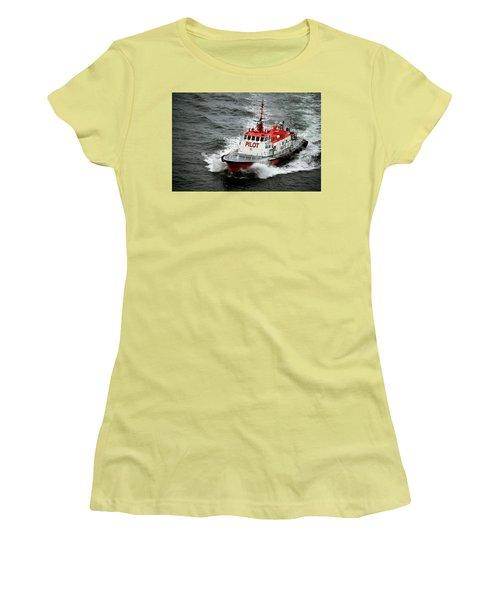 Women's T-Shirt (Junior Cut) featuring the photograph Harbor Master Pilot by Allen Carroll