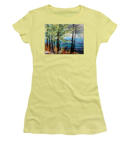 Women's T-Shirt (Junior Cut) featuring the painting Harbor Trees by John Williams