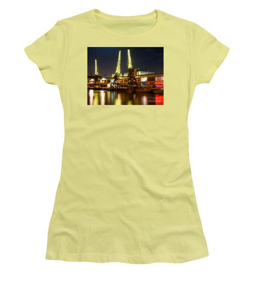 Harbour Cranes Women's T-Shirt (Junior Cut) by Colin Rayner