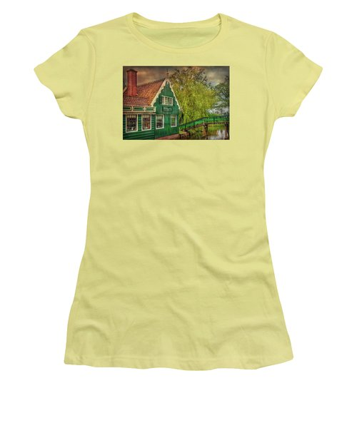 Women's T-Shirt (Athletic Fit) featuring the photograph Haremakerij At The Brook by Hanny Heim
