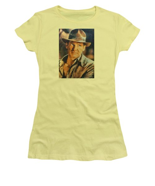 Harrison Ford As Indiana Jones Women's T-Shirt (Junior Cut) by Charmaine Zoe