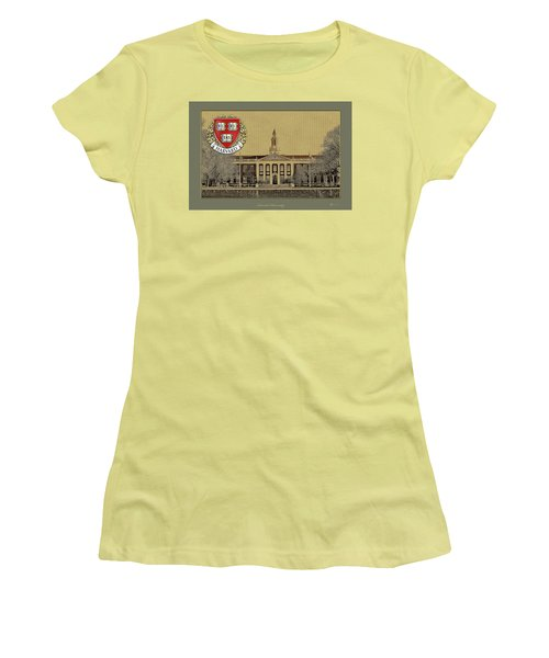Harvard University Building Overlaid With 3d Coat Of Arms Women's T-Shirt (Athletic Fit)