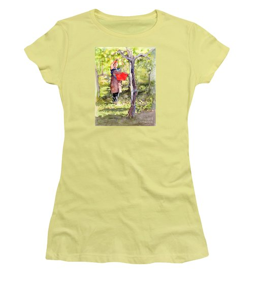 Women's T-Shirt (Junior Cut) featuring the painting Harvesting Anna's Grapes by Bonnie Rinier