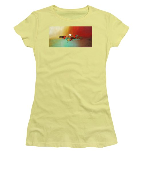 Women's T-Shirt (Junior Cut) featuring the painting Hashtag Happy - Abstract Art by Carmen Guedez