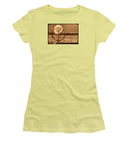 Hat And Lasso On A Fence Women's T-Shirt (Junior Cut) by American West Legend By Olivier Le Queinec