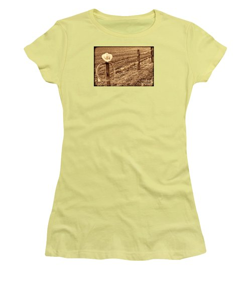 Hat And Lasso On Fence Women's T-Shirt (Junior Cut) by American West Legend By Olivier Le Queinec