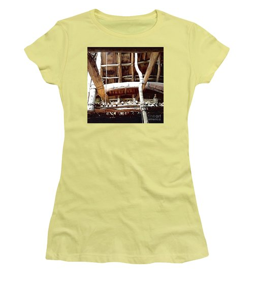 Haudenosaunee Longhouse  Women's T-Shirt (Junior Cut) by Ellen Levinson