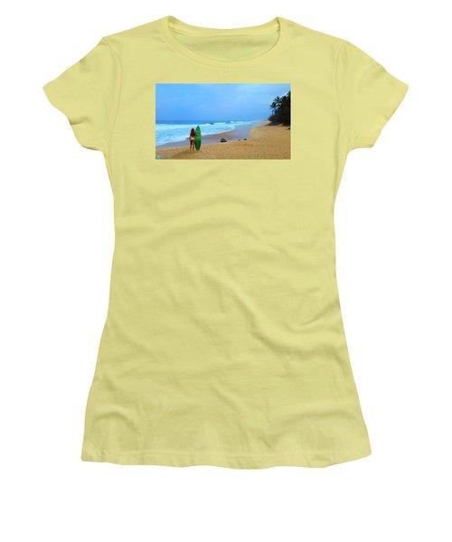 Hawaiian Surfer Girl Women's T-Shirt (Junior Cut) by Michael Rucker