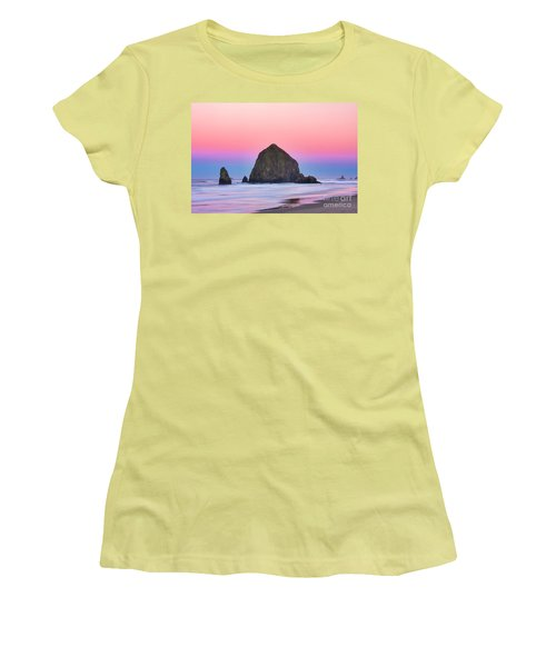 Haystack Rock At Dawn Women's T-Shirt (Athletic Fit)