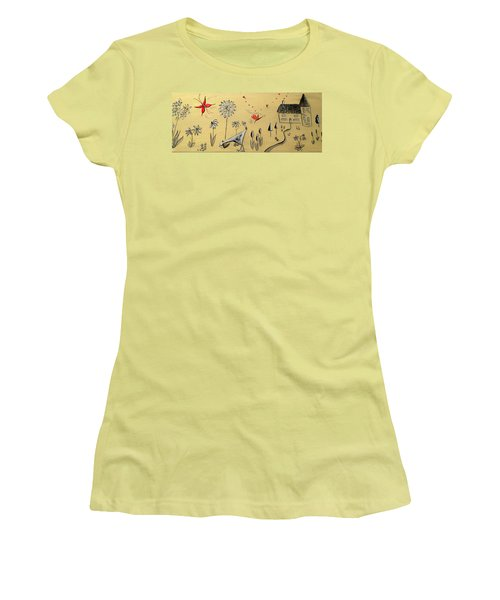 Heart Cottage Red 2 Women's T-Shirt (Junior Cut) by Kathy Spall