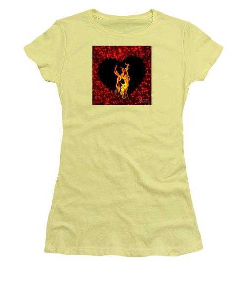 Heart On Fire  Women's T-Shirt (Junior Cut) by Mindy Bench
