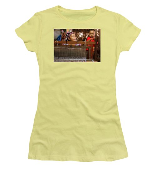 Helping Mom With The Weaving Women's T-Shirt (Athletic Fit)