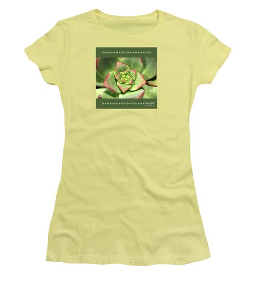 Hens And Chicks Succulent And Design Women's T-Shirt (Junior Cut) by Joy Watson