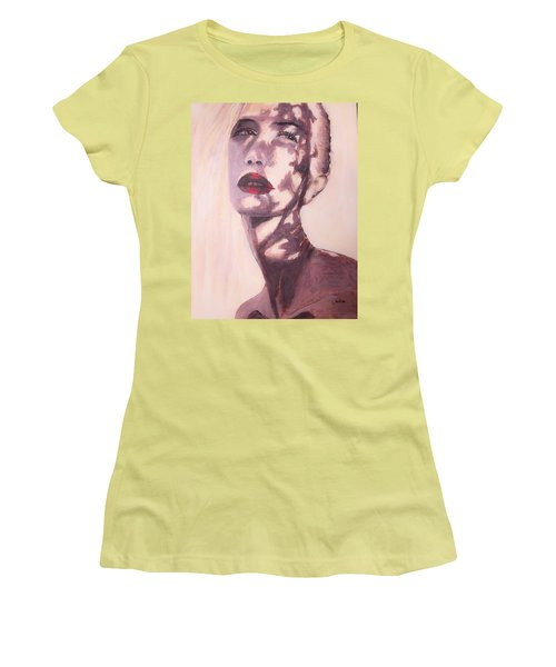 Women's T-Shirt (Junior Cut) featuring the painting Here Comes The Sun  by Jarko Aka Lui Grande