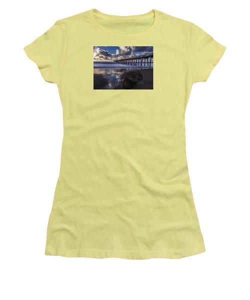 Hermosa Beach Pier Women's T-Shirt (Junior Cut) by Ed Clark