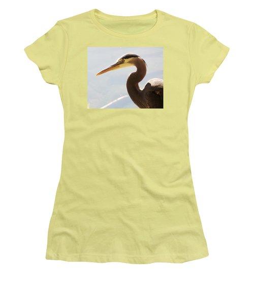 Heron Headshot Women's T-Shirt (Junior Cut) by Karen Molenaar Terrell