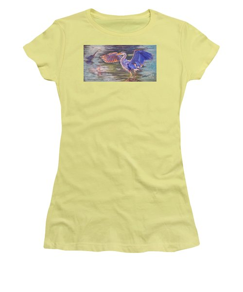 Women's T-Shirt (Junior Cut) featuring the painting Heron Majesty by Janet McDonald