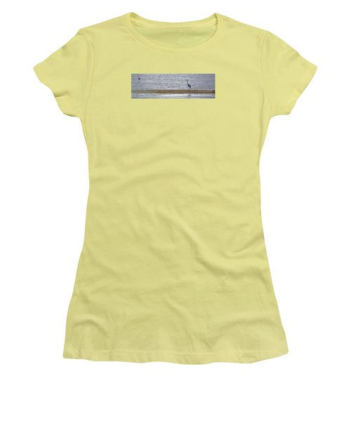 Heron On Quivira Sandbar Women's T-Shirt (Athletic Fit)