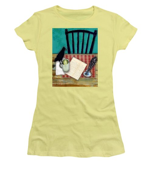 Women's T-Shirt (Junior Cut) featuring the digital art He's Gone by Lisa Noneman