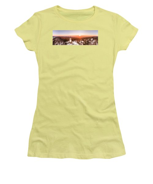 Women's T-Shirt (Junior Cut) featuring the photograph Heublein Tower In Simsbury Connecticut, Winter Sunrise Panorama by Petr Hejl