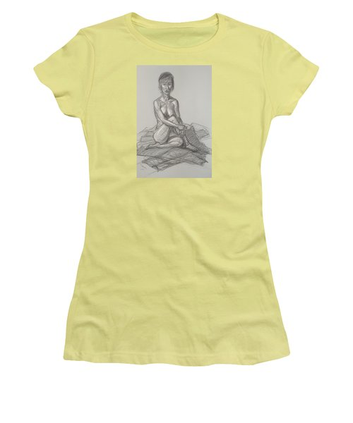 Women's T-Shirt (Junior Cut) featuring the drawing Hey Yong Seated by Donelli  DiMaria