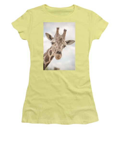 Hi There, I'm A Giraffe Women's T-Shirt (Junior Cut) by David Collins