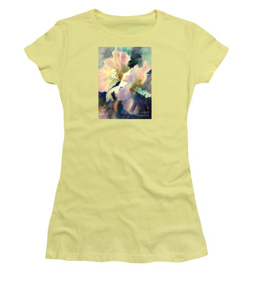 Women's T-Shirt (Junior Cut) featuring the painting Hibicus Up Close by Kathy Braud