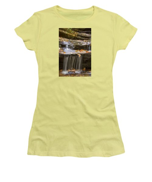 Women's T-Shirt (Junior Cut) featuring the photograph Hidden Falls Detail by Bob Decker