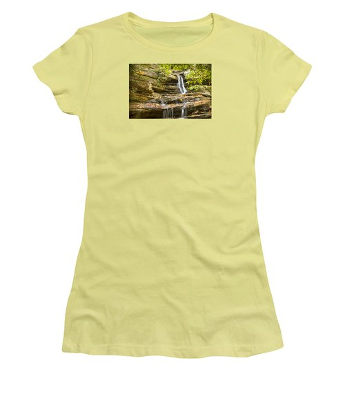 Women's T-Shirt (Junior Cut) featuring the photograph Hidden Falls-hanging Rock State Park by Bob Decker