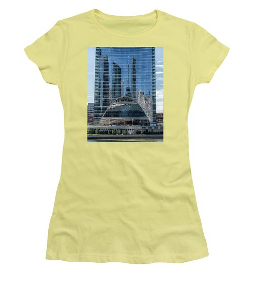 Women's T-Shirt (Junior Cut) featuring the photograph High Rise Reflections by Alan Toepfer