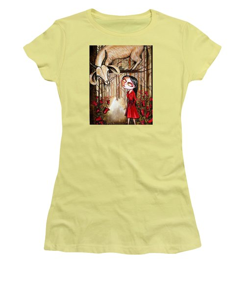 Women's T-Shirt (Junior Cut) featuring the painting Higher Ground by Leanne WILKES