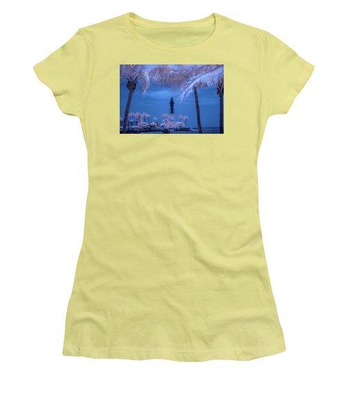 Women's T-Shirt (Junior Cut) featuring the photograph Hillsboro Inlet Lighthouse Infrared by Louis Ferreira