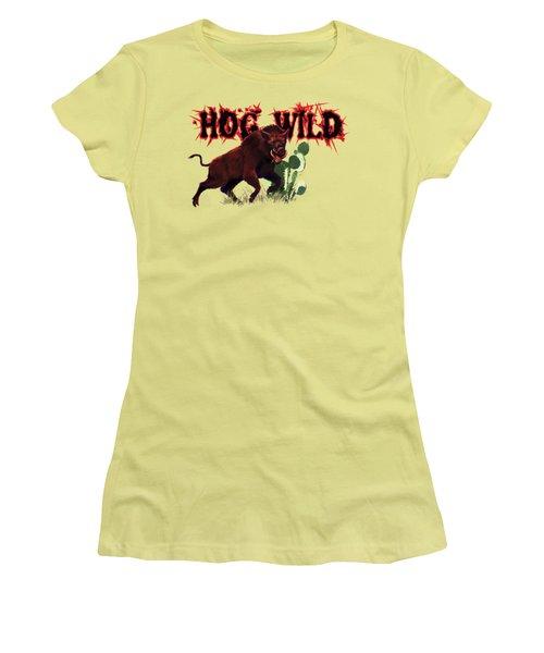 Hog Wild Tee Women's T-Shirt (Junior Cut) by Rob Corsetti