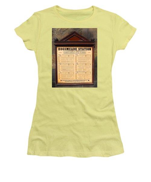 Women's T-Shirt (Junior Cut) featuring the photograph Hogsmeade Station Timetable by Juergen Weiss