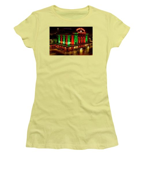 Holiday Lights At Union Station Denver Women's T-Shirt (Junior Cut) by Teri Virbickis