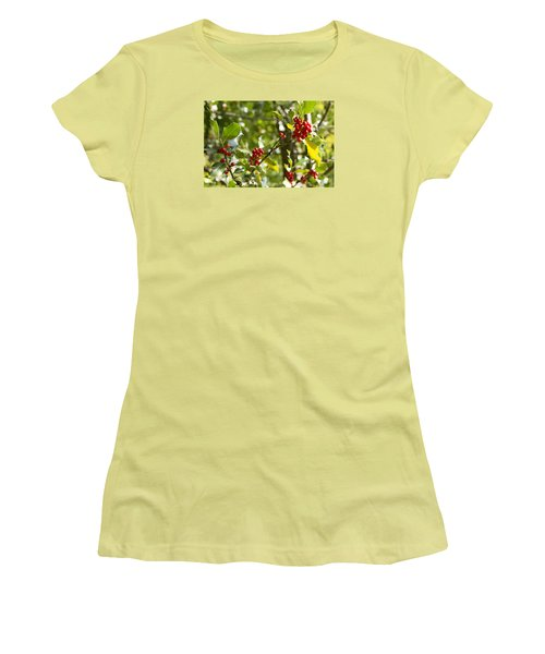 Women's T-Shirt (Junior Cut) featuring the photograph Holly With Berries by Chevy Fleet