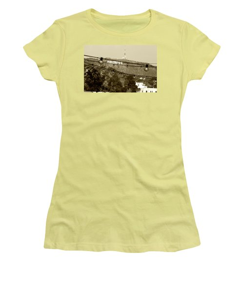 Women's T-Shirt (Junior Cut) featuring the photograph Hollywood Sign On The Hill 4 by Micah May