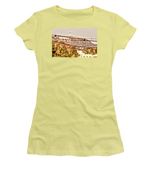 Women's T-Shirt (Junior Cut) featuring the photograph Hollywood Sign On The Hill 6 by Micah May