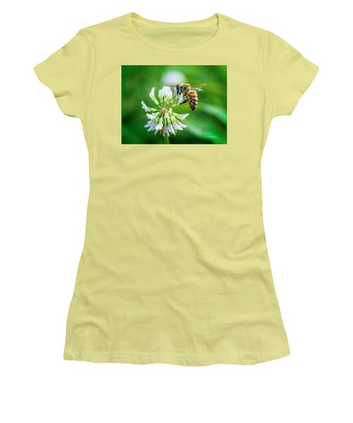 Honeybee On White Clover..... Women's T-Shirt (Athletic Fit)